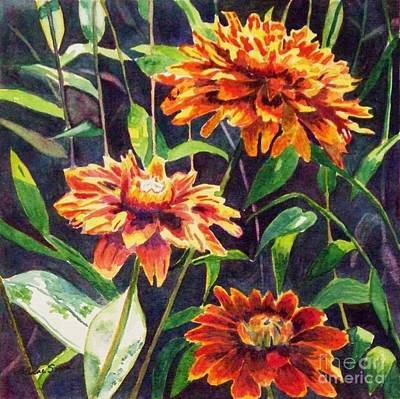 Poster featuring the painting Orange Zinnias by LeAnne Sowa