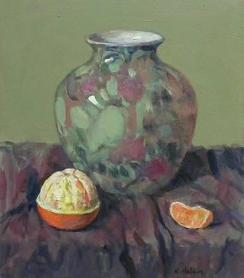 Oranges And Floral Porcelain Vase Poster