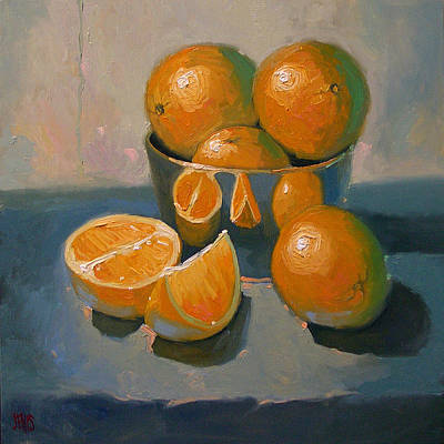 Oranges On A Blue Cloth Poster by Robert Lewis