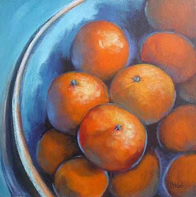 Poster featuring the painting Oranges On Blue Acrylic Original Painting by Chris Hobel