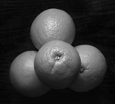 Oranges On Wood Background In Black And White Poster