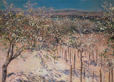 Orchard With Flowering Apple Trees Poster by Gustave Caillebotte