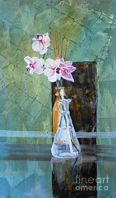 Orchids And A Rose Poster by Janet Felts
