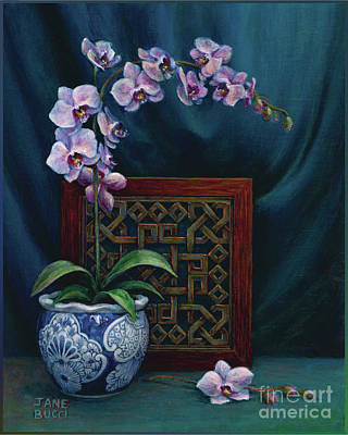 Orchids In A Chinese Pot Poster