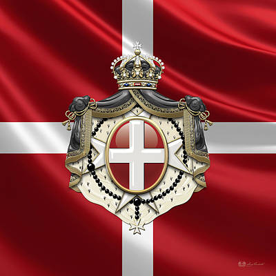 Order Of Malta Coat Of Arms Over Flag Poster by Serge Averbukh