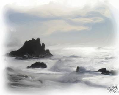 Poster featuring the painting Oregon Coast by Shelley Bain
