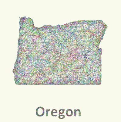 Oregon Line Art Map Poster