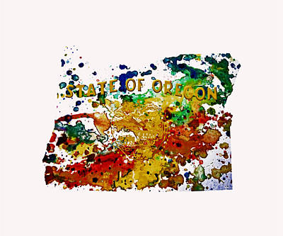 Oregon Paint Splatter Poster by Brian Reaves