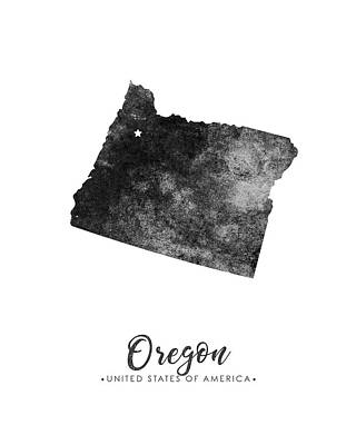 Oregon State Map Art - Grunge Silhouette Poster