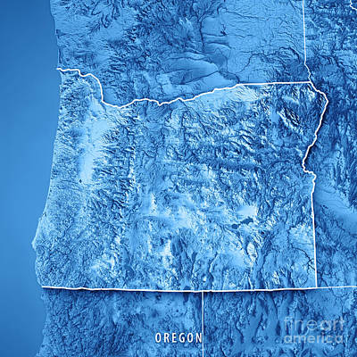 Oregon State Usa 3d Render Topographic Map Blue Border Poster
