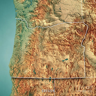 Oregon State Usa 3d Render Topographic Map Border Poster