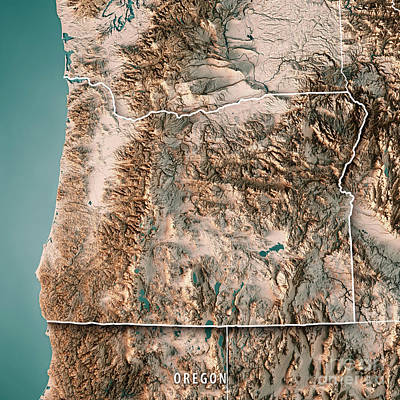 Oregon State Usa 3d Render Topographic Map Neutral Border Poster