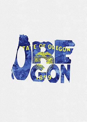 Oregon Typographic Map Flag Poster