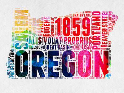 Oregon Watercolor Word Cloud Poster