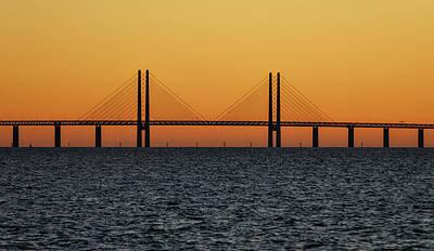 Oresund Bridge At Sunset Poster by Teresita Garit