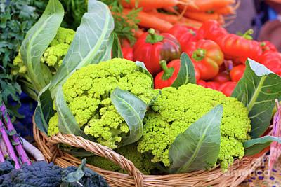 Organic Green Cauliflower At The Farmer's Market Poster
