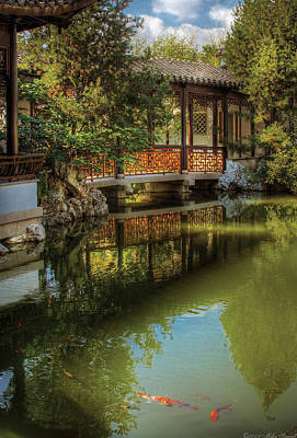Orient - Bridge - The Chinese Garden Poster by Mike Savad