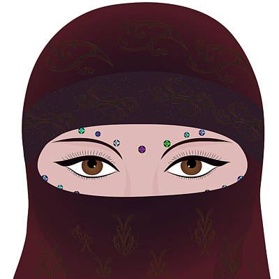 Oriental Woman In Hijab Face Cover Poster