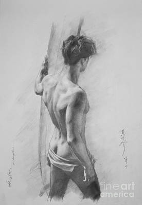 Original Charcoal Drawing Art Male Nude  On Paper #16-3-11-12 Poster
