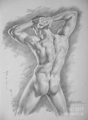 Original Charcoal Drawing Art Male Nude  On Paper #16-3-11-25 Poster