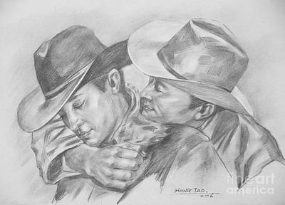 Original Charcoal Drawing Art Portrait  Of Cowboys On Paper #16-3-18-01 Poster by Hongtao Huang