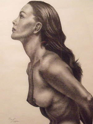 Original Charcoal Nude Female Profile Study Poster