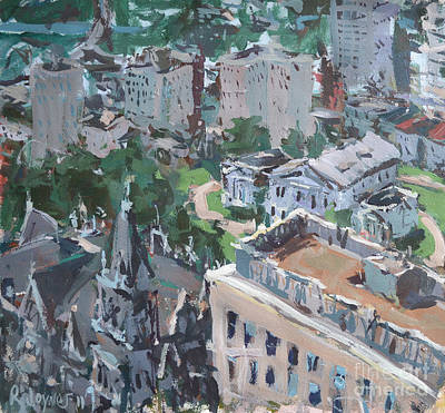 Poster featuring the painting Original Contemporary Cityscape Painting Featuring Virginia State Capitol Building by Robert Joyner