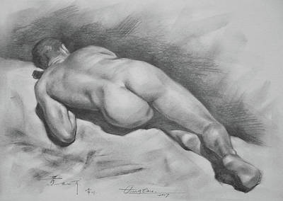 Original Drawing Male Nude#17316 Poster by Hongtao Huang