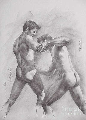 Original Drawing Sketch Art Male Nude Men Gay Interest Boy On Paper By Hongtao #11-17-05 Poster by Hongtao     Huang