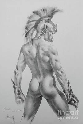 Original Drawing Sketch Charcoal Chalk Male Nude Gay Interst Man Art Pencil On Paper -0040 Poster