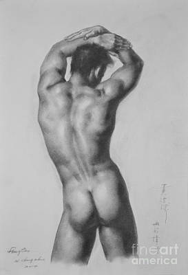 Original Drawing Sketch Charcoal Gay Interest Man Male Nude Art Pencil On Paper-0047 Poster