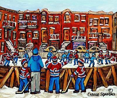 Original Hockey Art Paintings For Sale The Neighborhood Hockey Rink Canadian Winter Scenes Poster by Carole Spandau