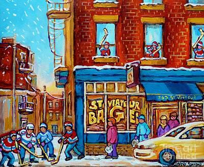 Original Hockey Art St Viateur Bagel Paintings For Sale Street Hockey In The Laneway Canadian Winter Poster by Carole Spandau