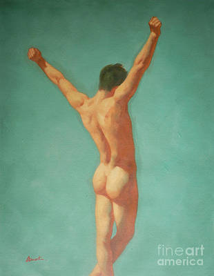 Original Male Nude Oil Painting Gay Boy Art On Linen-0022 Poster
