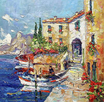 Fishing Boats On Lake Como Italy Poster by Royo Liu