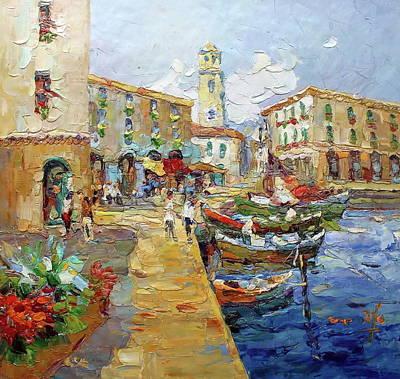 Lago Di Garda Italia / Sailing Boats By Church On Lake Garda Poster by Royo Liu