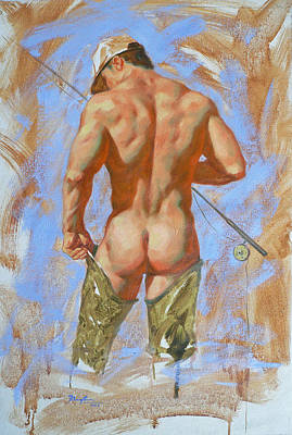 Original Oil Painting Art Male Nude Fisherman On Linen #16-2-20 Poster