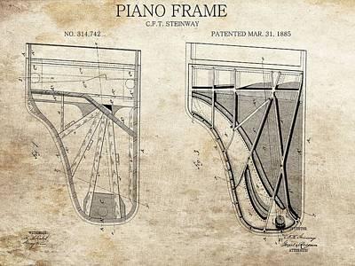 Original Steinway Piano Frame Patent Poster