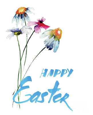 Original Summer Flowers With Title Happy Easter Poster