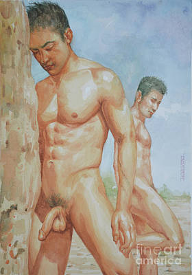 Original Watercolour Painting Art Young Men Male Nude Boys  On Paper #16-1-26-15 Poster