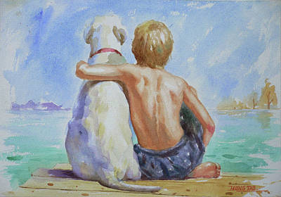 Original Watercolour Painting Nude Boy And Dog On Paper#16-11-18 Poster