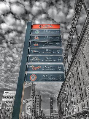 Oriole Park At Camden Yards Signs - Black And White Poster by Marianna Mills