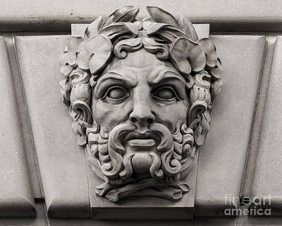 Ornamental Carved Stone Face - Washington Dc Poster by Gary Whitton