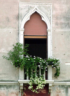 Poster featuring the photograph Ornate Window With Red Shutters by Donna Corless