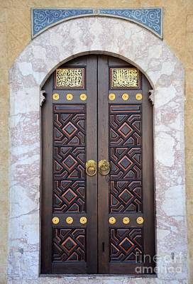 Ornately Decorated Wood And Brass Inlay Door Of Sarajevo Mosque Bosnia Hercegovina Poster by Imran Ahmed