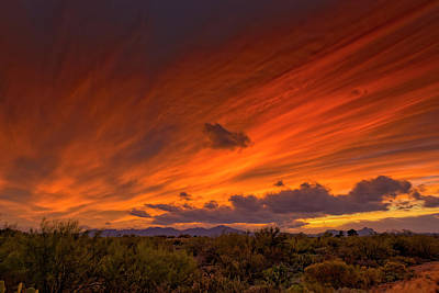 Poster featuring the photograph Oro Valley Sunset H6 by Mark Myhaver