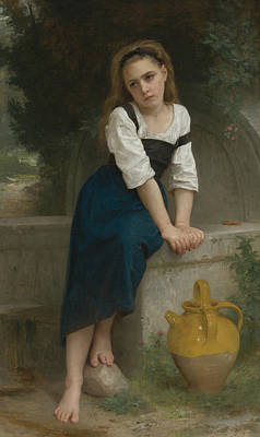 Orphan At The Fountain Poster by William-Adolphe Bouguereau