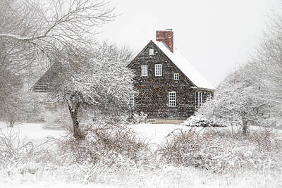 Orrs Island Home In A Snow Storm Poster by Benjamin Williamson