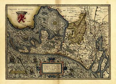 Ortelius's Map Of Holland, 1570 Poster by Library Of Congress, Geography And Map Division