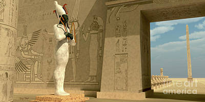 Osiris Statue In Pharaoh Temple Poster by Corey Ford